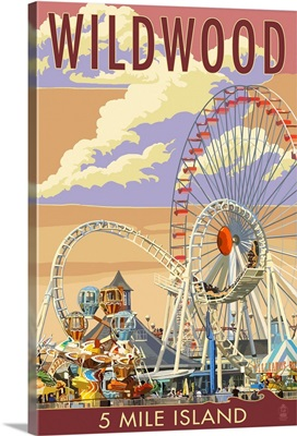Wildwood, New Jersey - Pier and Sunset: Retro Travel Poster