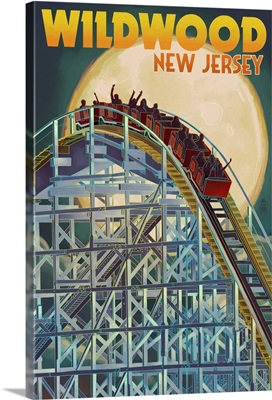 Wildwood, New Jersey - Roller Coaster and Moon: Retro Travel Poster