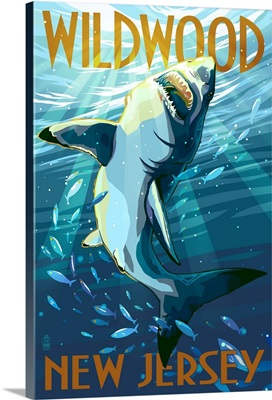 Wildwood, New Jersey - Stylized Shark: Retro Travel Poster