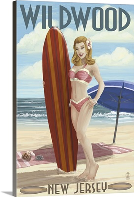 Wildwood, New Jersey - Surfing Pinup Girl: Retro Travel Poster