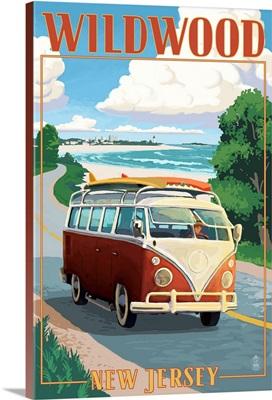 Wildwood, New Jersey - VW Van Coastal Drive: Retro Travel Poster