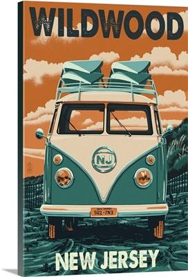 Wildwood, New Jersey - VW Van Letterpress: Retro Travel Poster