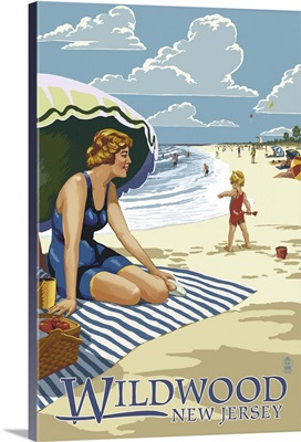 Wildwood, New Jersey - Woman on the Beach: Retro Travel Poster