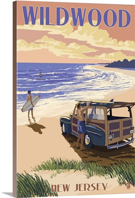 Wildwood, New Jersey - Woody On The Beach: Retro Travel Poster