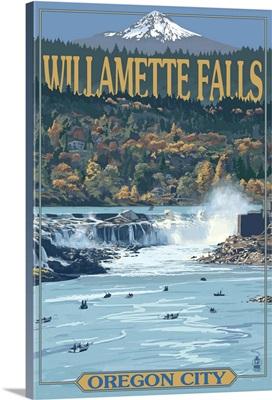 Willamette Falls - Oregon City, OR: Retro Travel Poster