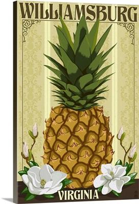 Williamsburg, Virginia - Colonial Pineapple: Retro Travel Poster