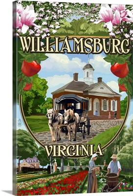 Williamsburg, Virginia - Montage Scenes: Retro Travel Poster
