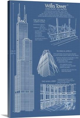 Willis Tower Blue Print - Chicago, IL: Retro Travel Poster