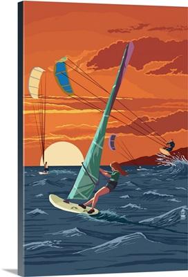 Windsurfers and Sunset: Retro Poster Art