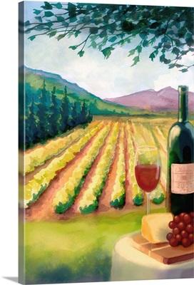 Wine Country and Vineyard: Retro Poster Art