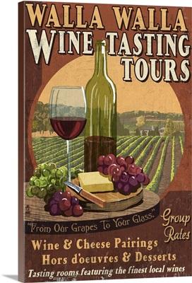 Wine Tasting Vintage Sign - Walla Walla, Washington: Retro Travel Poster