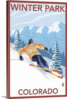 Winter Park, Colorado - Downhill Skier: Retro Travel Poster