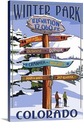 Winter Park, Colorado - Sign Destinations: Retro Travel Poster