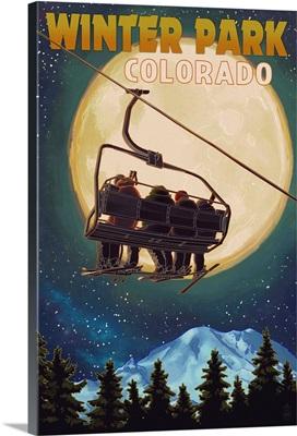 Winter Park, Colorado - Ski Lift and Full Moon: Retro Travel Poster