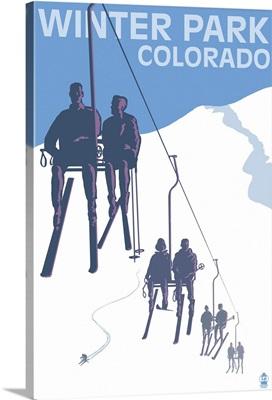 Winter Park, Colorado - Ski Lift: Retro Travel Poster