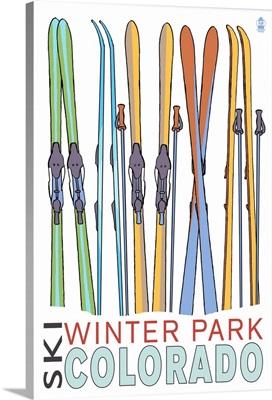 Winter Park, Colorado - Skis in Snow: Retro Travel Poster