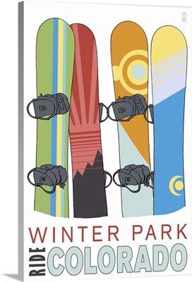 Winter Park, Colorado - Snowboards in Snow: Retro Travel Poster