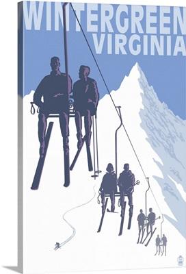 Wintergreen, Virginia - Skiers on Lift: Retro Travel Poster