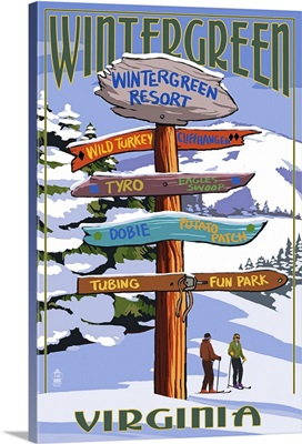 Wintergreen,Virginia - Destination Signpost- : Retro Travel Poster