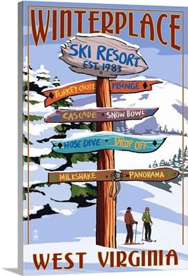 Winterplace, West Virginia - Destination Signpost- : Retro Travel Poster
