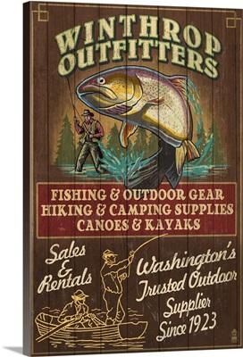 Winthrop, Washington - Angler Vintage Sign: Retro Travel Poster