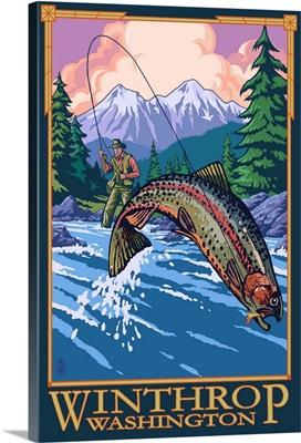Winthrop, Washington - Fly Fishing Scene: Retro Travel Poster