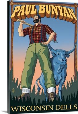 Wisconsin Dells, WI - Paul Bunyan: Retro Travel Poster