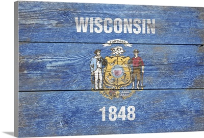 Wisconsin State Flag on Wood
