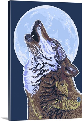 Wolf Howling at Moon: Retro Poster Art