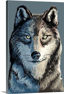 Wolf Up Close: Retro Poster Art