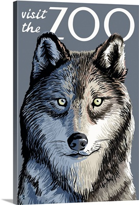 Wolf Up Close - Visit the Zoo: Retro Travel Poster