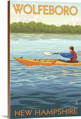 Wolfeboro, New Hampshire - Kayak Scene: Retro Travel Poster