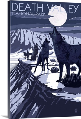 Wolves and Full Moon - Death Valley National Park: Retro Travel Poster