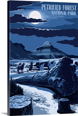 Wolves and Full Moon - Petrified Forest National Park: Retro Travel Poster