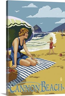 Woman at Cannon Beach, Oregon: Retro Travel Poster