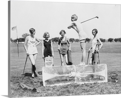 Woman Golfing, Teeing off a Block of Ice