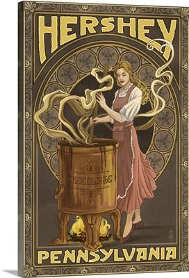 Woman making Chocolate - Hershey, Pennsylvania: Retro Travel Poster