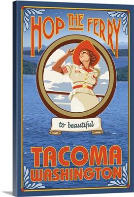 Woman Riding Ferry - Tacoma, Washington: Retro Travel Poster