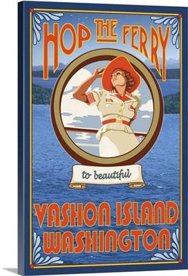 Woman Riding Ferry - Vashon Island, Washington: Retro Travel Poster
