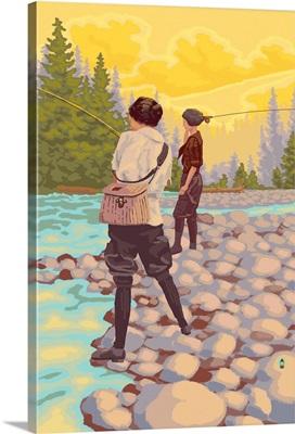 Women Fishing: Retro Poster Art
