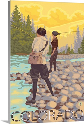 Women Fly Fishing - Colorado: Retro Travel Poster