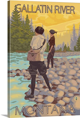 Women Fly Fishing - Gallatin River, Montana: Retro Travel Poster