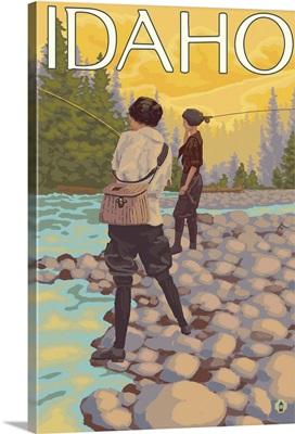 Women Fly Fishing - Idaho: Retro Travel Poster