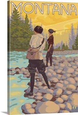 Women Fly Fishing - Montana: Retro Travel Poster