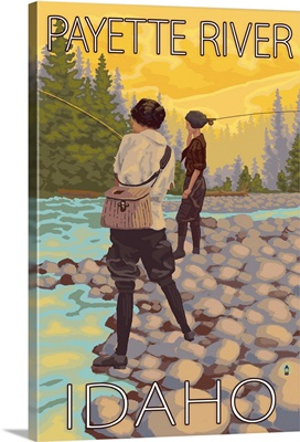 Women Fly Fishing - Payette River, Idaho: Retro Travel Poster