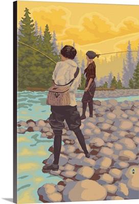 Women Fly Fishing Scene: Retro Poster Art