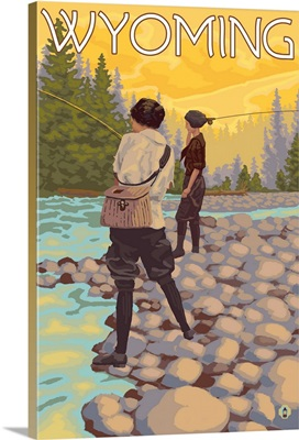 Women Fly Fishing - Wyoming: Retro Travel Poster