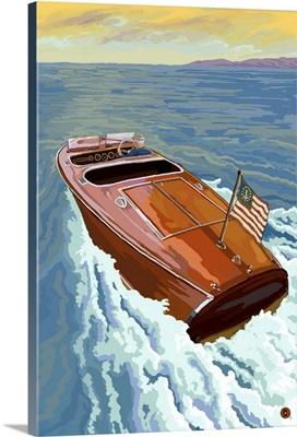 Wooden Boat on Lake: Retro Poster Art