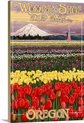Wooden Shoe Tulip Farm - Woodburn, Oregon: Retro Travel Poster