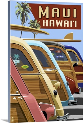 Woodies Lined Up - Maui, Hawaii: Retro Travel Poster